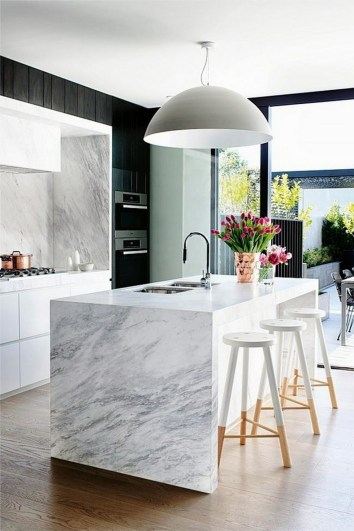 Interior Design on a Budget Sleek Black and White Kitchen with Marble Island and Dip Dye Stools