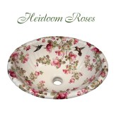 Heirloom Roses & Hummingbirds painted on a biscuit fluted drop-in basin.