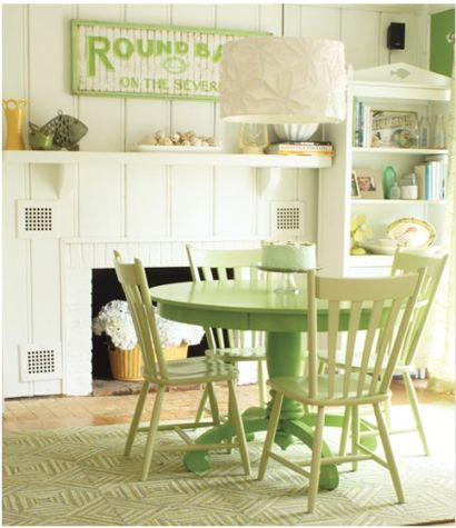 green painted table and chairs