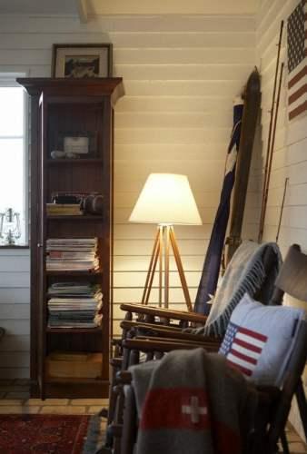 white walls and dark furniture