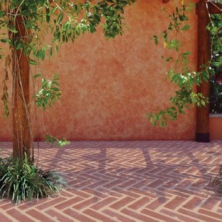 outdoor herringbone floor