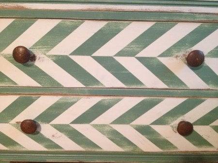 painted herringbone pattern dresser