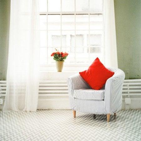 herringbone painted floor