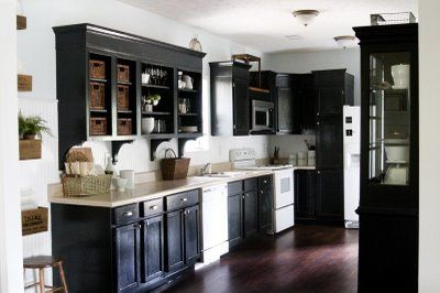 Black cabinets with blue wall color