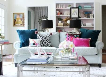 blue decorative pillows