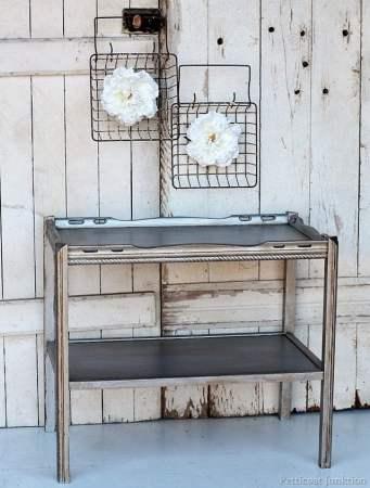 silver painted furniture. Petticoat Junction Furniture-makeover-using-martha-stewart-metallic-silver- Silver Painted Furniture