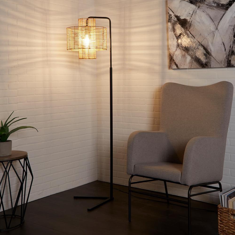 living room with no overhead lighting