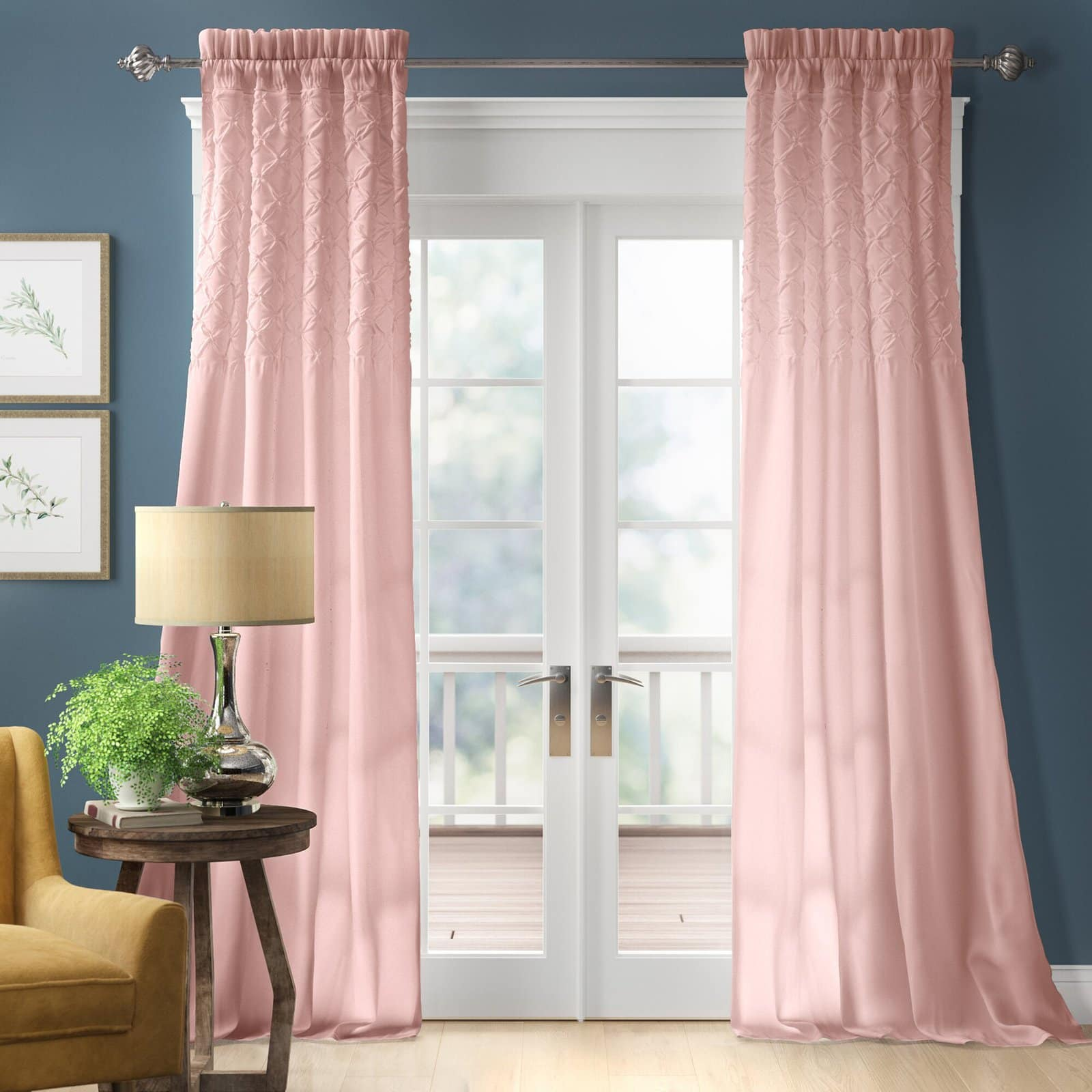 what color curtain goes with blue walls