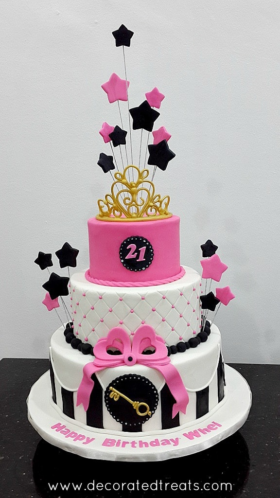 Pink 21st Birthday Cake A Decorating Tutorial Decorated Treats