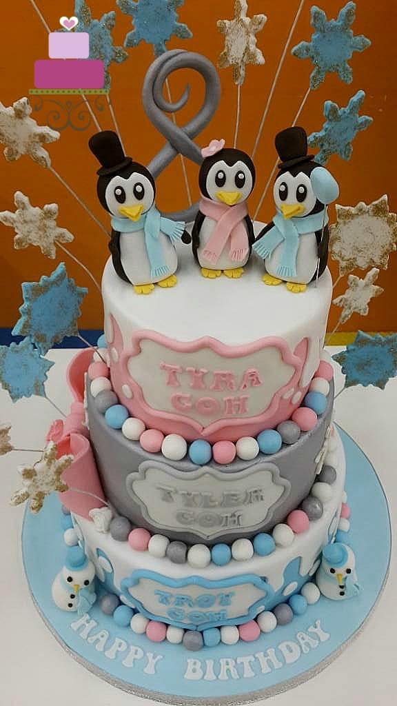 Penguin Cake For A Triplets Birthday Decorated Treats