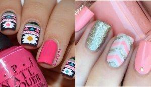 uñas decoradas blanco y rosa