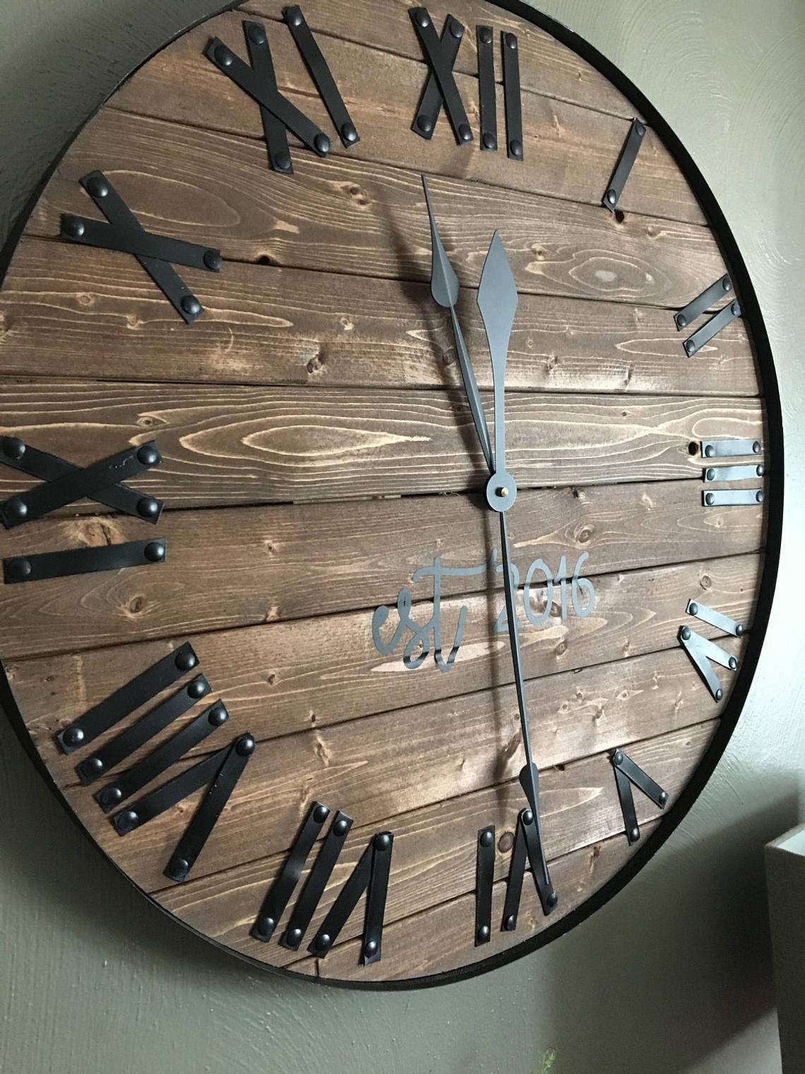 24-Large-Farmhouse-Wooden-Wall-Clock-Modern-Farmhouse ...
