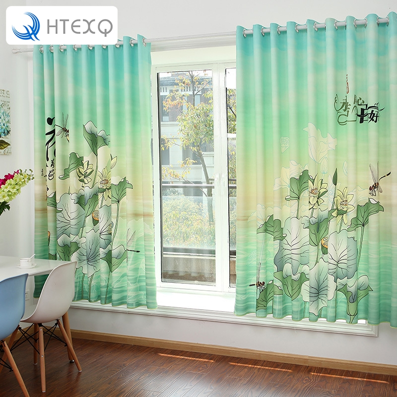 Romantic Lotus Floral Chinese Style Door Window Curtain