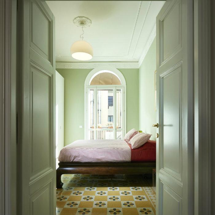πρασινη παστελ κρεβατοκαμαρα