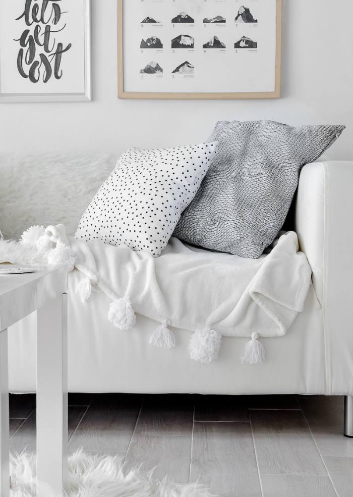 προσθηκη πομ πομ σε fleece κουβέρτα