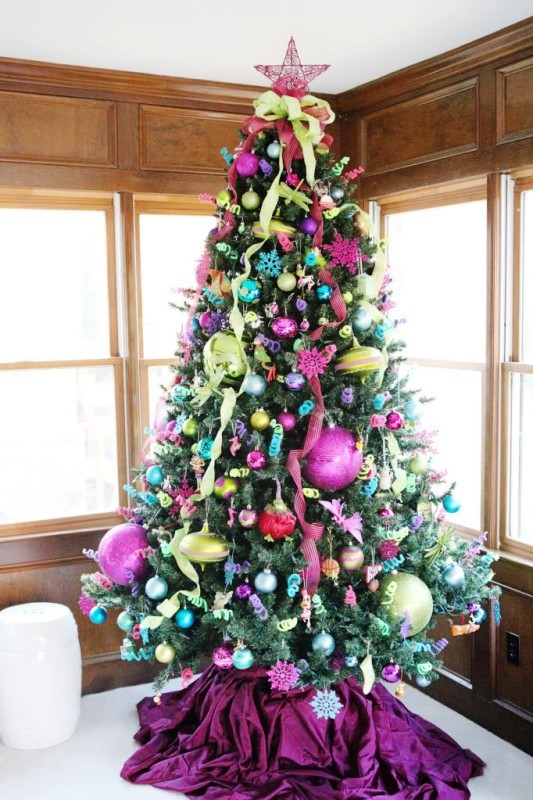 Turquoise Pink And Green Christmas Tree