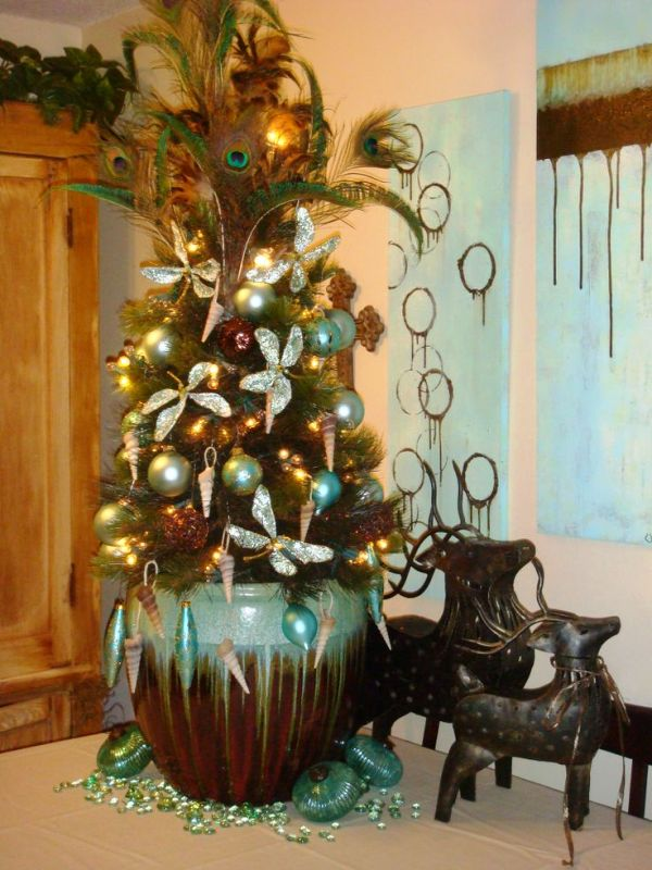 Turquoise And Copper Christmas Tree Tooper Design