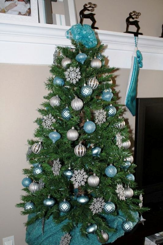 Turquoise And Silver Christmas Tree Fine Design View