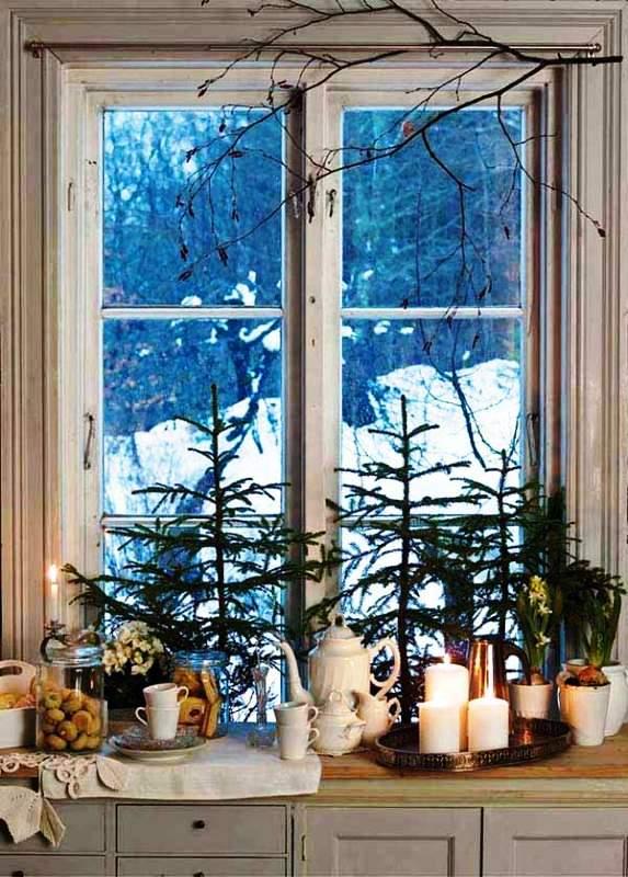 Christmas Window Snow Scenes