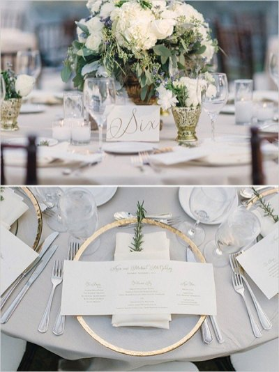 decoration de table de mariage neutres