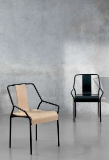 Contemporary Chair / Stackable / With Armrests / Oak