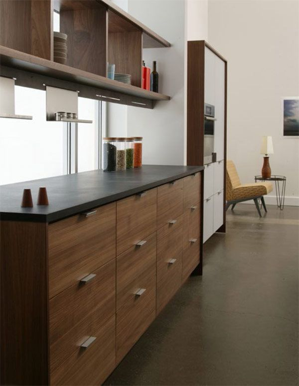 Modern Walnut Kitchen Cabinets Design Ideas 50