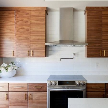 Modern Walnut Kitchen Cabinets Design Ideas 54