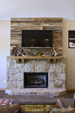 Reclaimed Wood Fireplace 34
