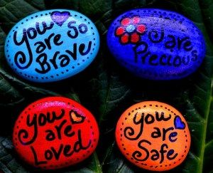 Painted Rocks With Inspirational Picture And Words 16