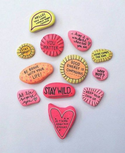 Painted Rocks With Inspirational Picture And Words 78