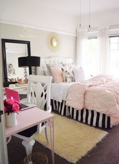 Pink White And Gold Bedroom 1