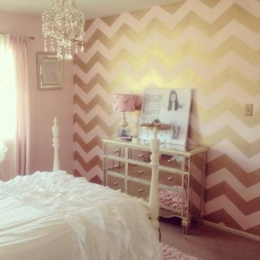 Ordinaire Pink White And Gold Bedroom 21