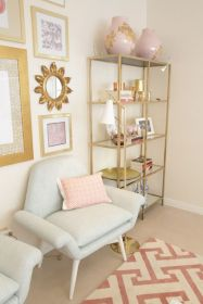 Pink White And Gold Bedroom 37