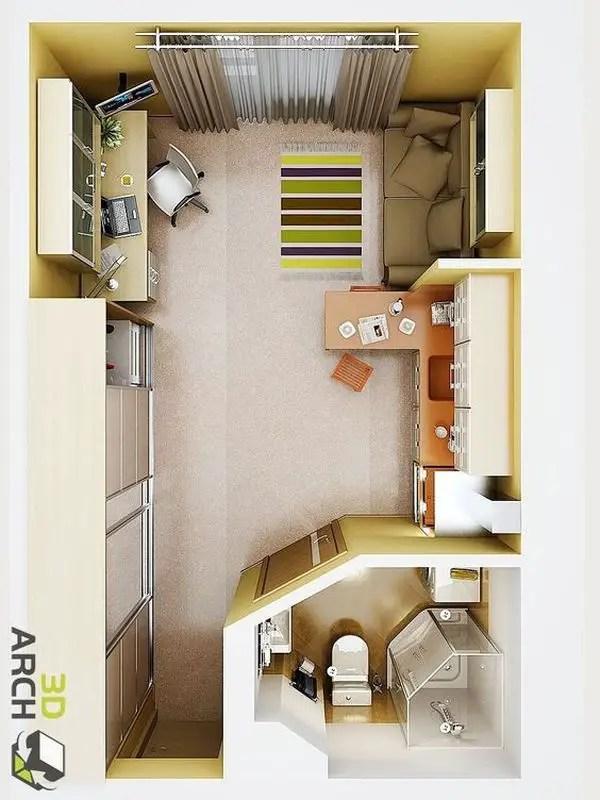 18 Coolest Studio Apartment Layout - decoratoo