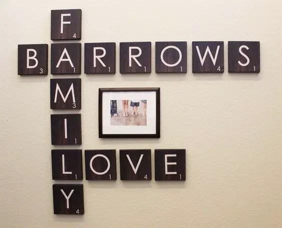 12 Excellent DIY Wood Family Scrabble Tile Wall Art Design For Home ...