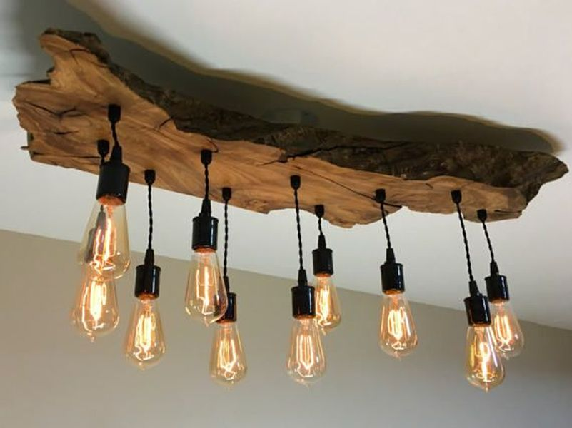 Medium Live Edge Olive Wood Chandelier Lith Fixture With Edison Bulbs