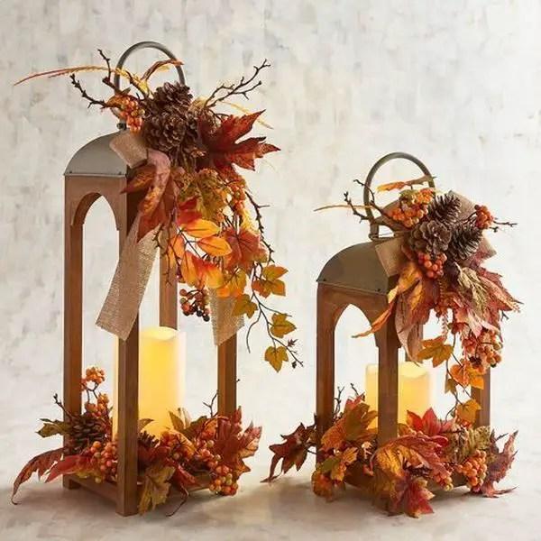 Orange Faux Floral Lantern