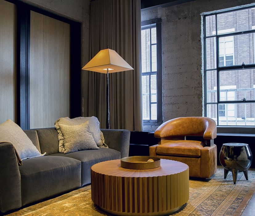 Arts district Interior: Industrial apartment with loft design