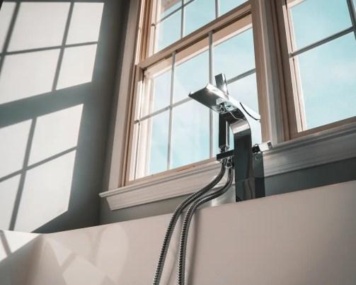 Bathroom transom window for tiny home