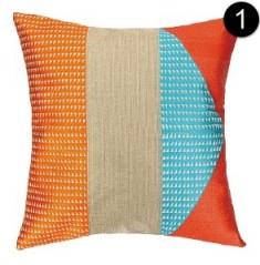 Peking Handicraft Pillow - 24TT98DC20SQ - Tiburon Embroidered Pillow Marmalade Down Fill