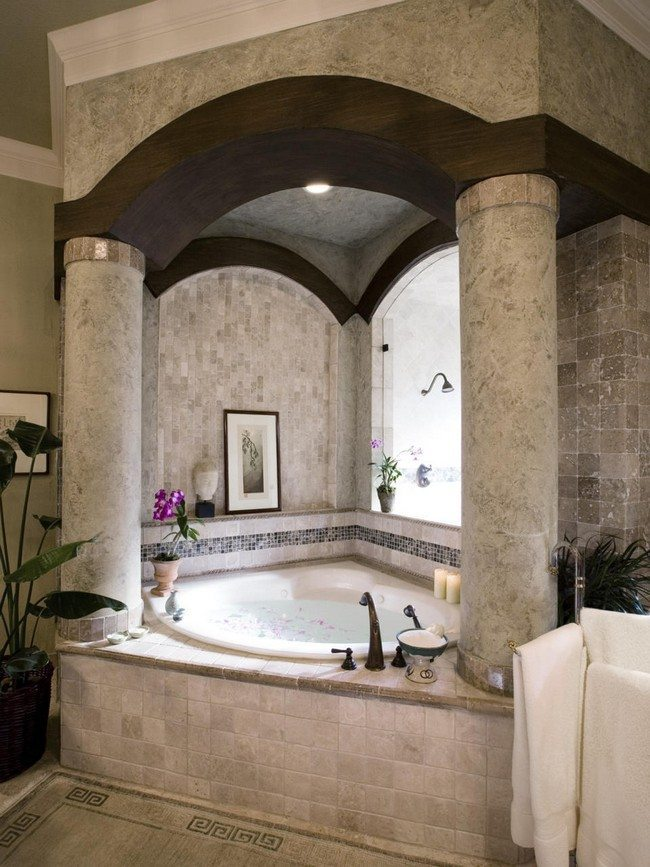 Elegant Bathrooms Ideas   Decor Around The World bathtube with colums made from stones