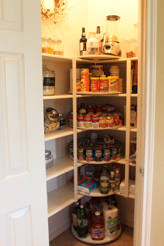 Maximize Corner Space By Adding Lazy Susans | Creative Canned Food Storage Ideas