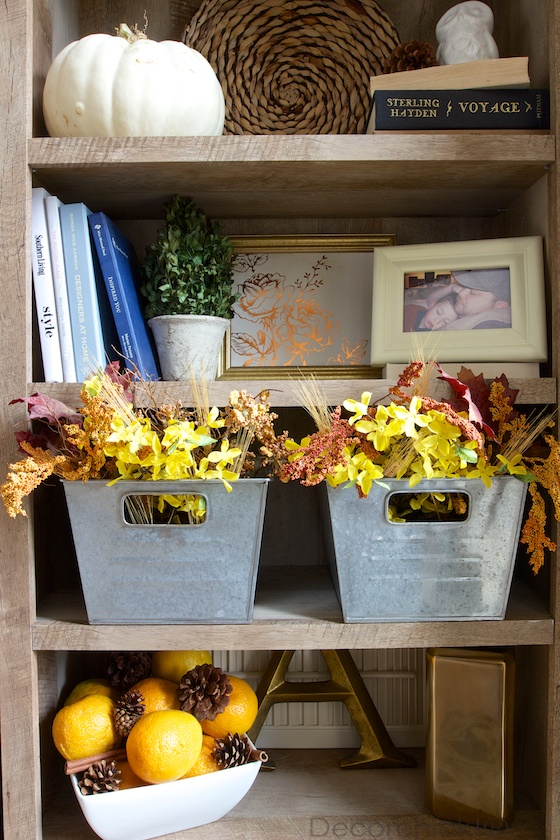 Walmart Decorations For Living Room: Fall Entryway And New Bookcase Decorated For The Season