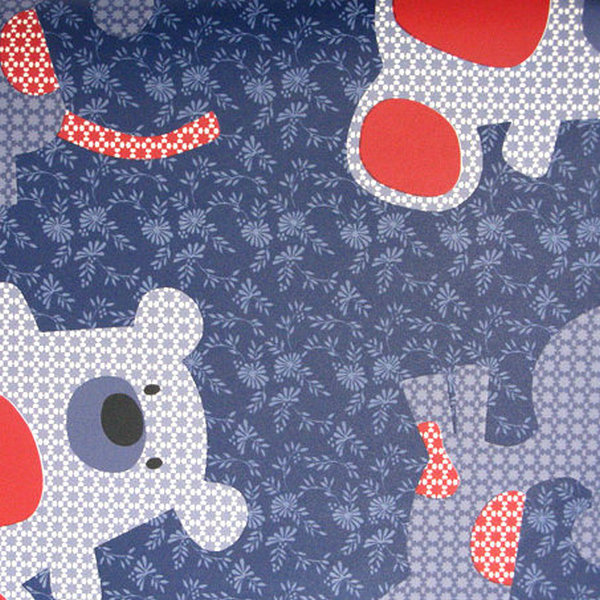 Blue And Red Washable Kiddies Teddy Bear Wallpaper