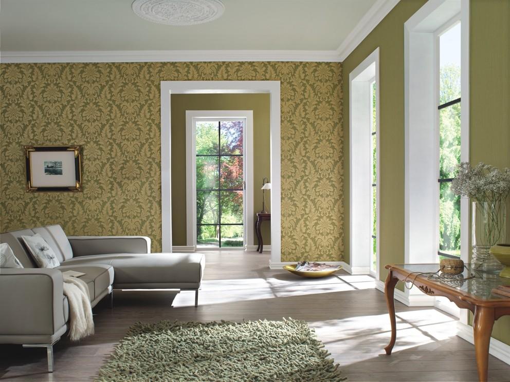 5Sqm Trianon Baroque Green Gold Wallpaper ...
