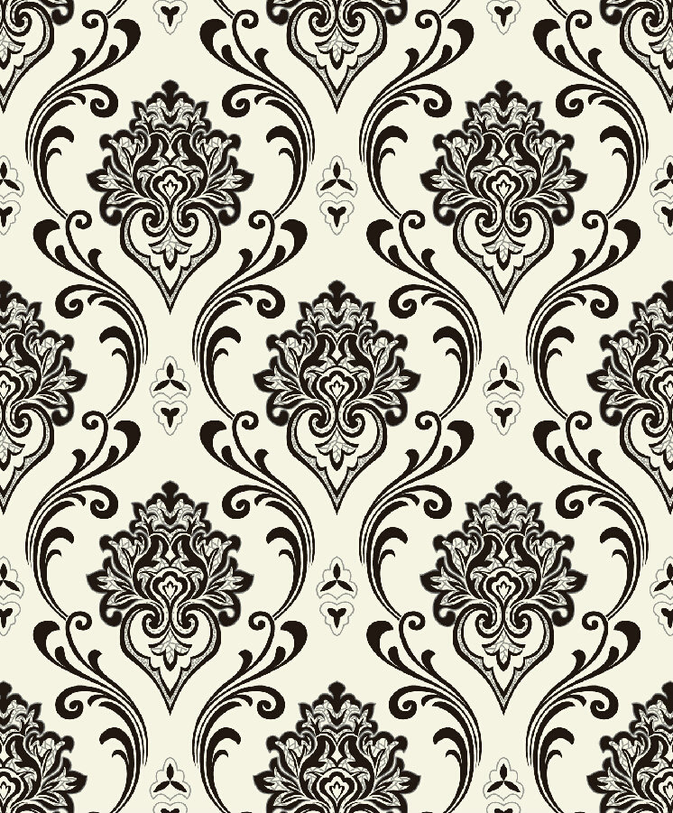 Black And White Modern Damask Wallpaper Design L813007