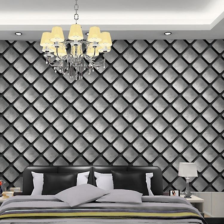 Dark Grey Diagonal Patterned 3D Wallpaper Design