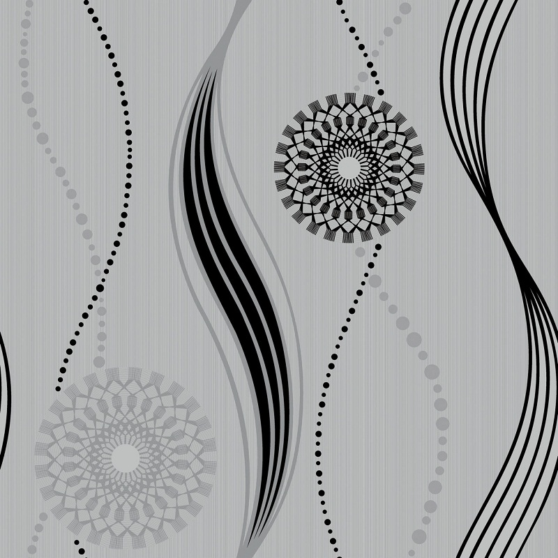 Elegant Black Silver And Off White Swirl Patterned Wallpaper