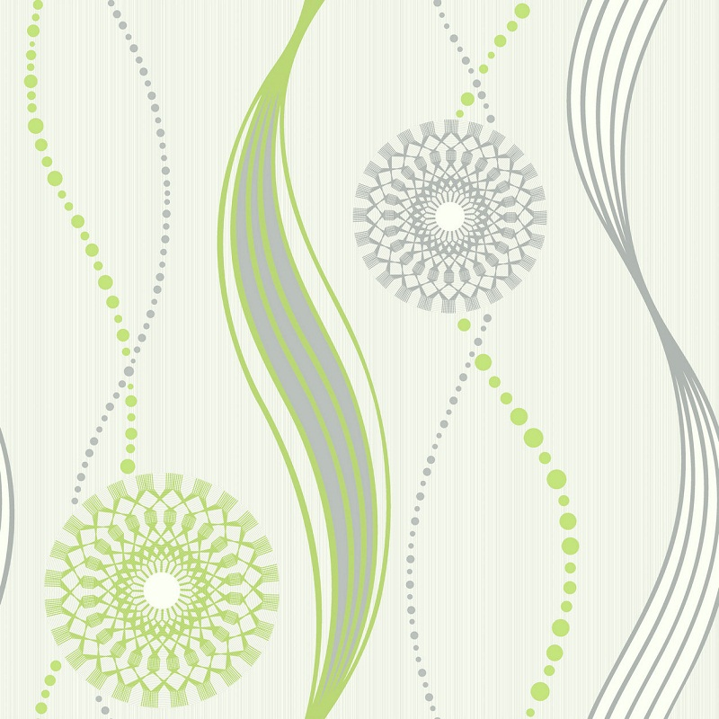 Elegant Green Silver And White Swirl Patterned Wallpaper F216085