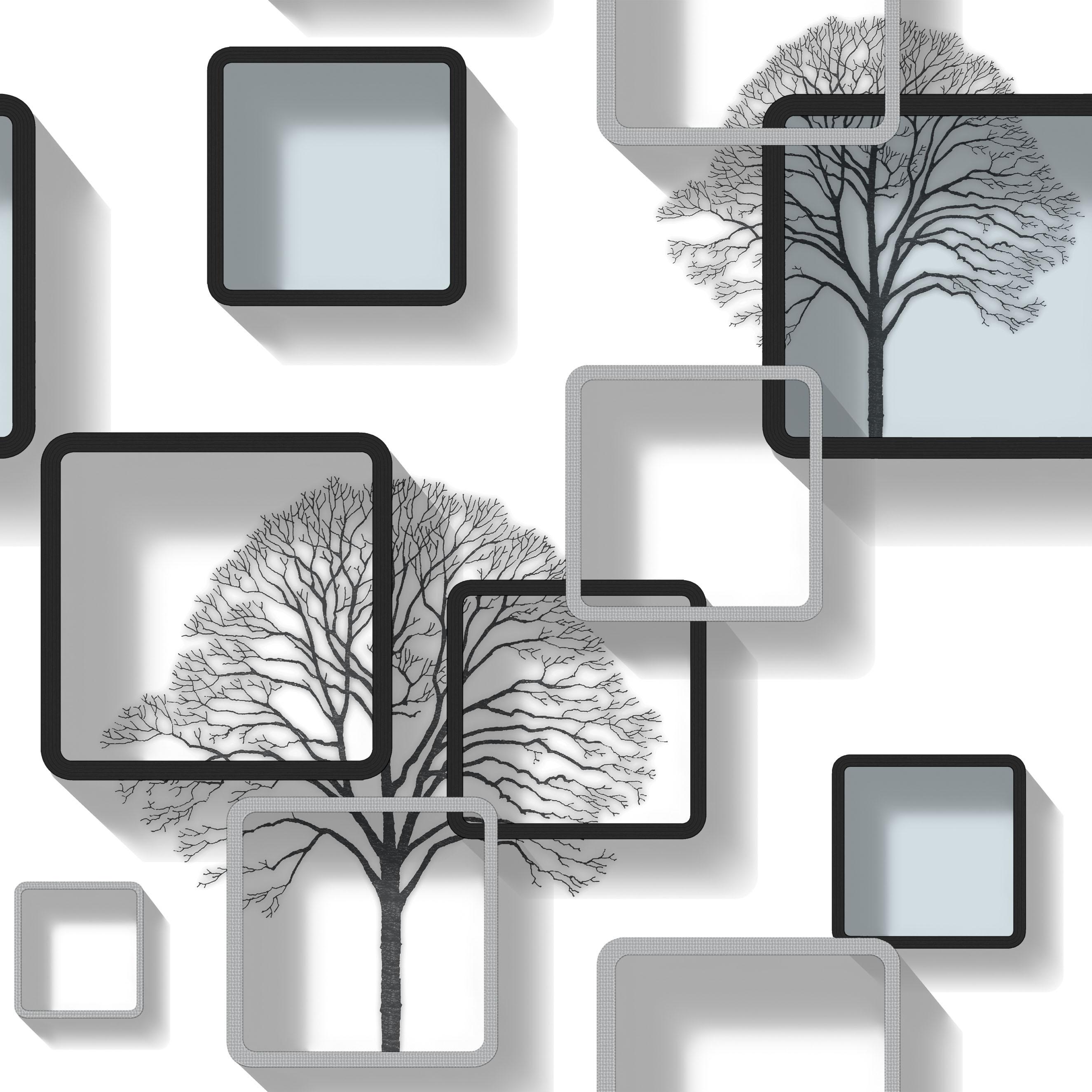 Modern Black And Grey Patterned 3D Wallpaper